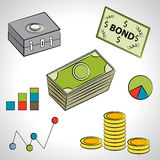 Financial Item Set. An image of a set of financial items Royalty Free Stock Photo