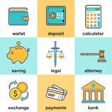 Financial Items And Money Symbol. Line icons set with flat design elements of finance objects and banking services. Modern vector pictogram collection concept Royalty Free Stock Image