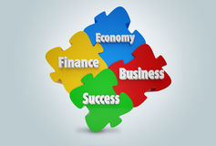 Financial jigsaw puzzle. With colors Stock Photo