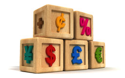 Financial Kid Cubes. With money symbols Stock Photography