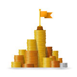 Financial leadership vector concept with coin piles in flat style Royalty Free Stock Photo