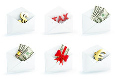 Financial letter 3d set on a white background Stock Photos