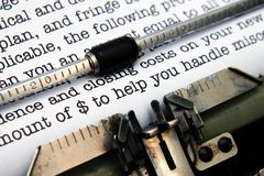 Financial letter on typewriter Royalty Free Stock Image