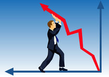 Financial lifting. Even crisis won't prevent to lift the company quotation Stock Image