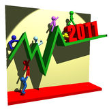 Financial line of 2011. 3d illustration of people figures  and financial graphic line Stock Photo