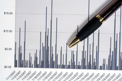 Financial Line Graph. This is an image of a financial graph and pen stock photo