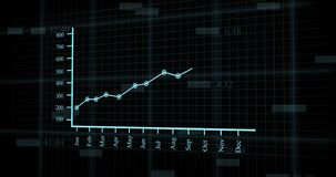 Financial line graph growing up. financial chart with uptrend line graph and numbers in stock market. abstract economy information