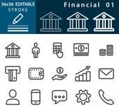 Financial - line vector icon set. Editable stroke. 36x36 Pixel perfect Stock Photos