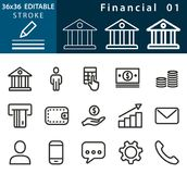 Financial - line vector icon set. Editable stroke. Stock Photos