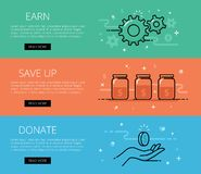 Financial line vector web banners set Stock Images