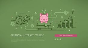 Financial literacy course linear web illustration Royalty Free Stock Photos
