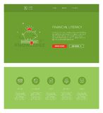 Financial literacy  design template for websites and apps. Minimal design web template with header and five icons for financial literacy courses landing pages Royalty Free Stock Images
