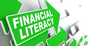 Financial Literacy on Green Arrow. Financial Literacy Green Arrows with Slogan on a Grey Background Indicate the Direction Stock Photography