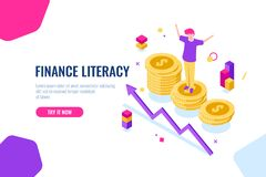 Financial literacy isometric, money accounting, economic illustration with woman who stand on podium, economics strategy. Flat color vector vector illustration