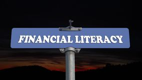 Financial literacy road sign stock video