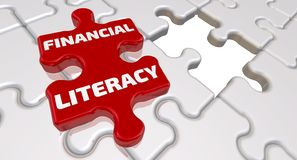 Free Financial Literacy. The Inscription On The Missing Element Of The Puzzle Royalty Free Stock Photos - 131824128