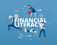 Financial literacy typographic poster. Visual metaphor of modern financial education. Young men and women faceless characters in differrent movements around Stock Photo
