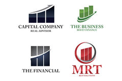 Financial logo set. Collection of building chart of financial logo set Royalty Free Stock Image