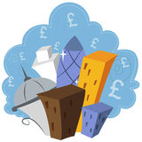 Financial London. Cartoon illustration of the financial centre of London Stock Image