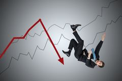 Financial loss and crisis concept. Young businessman is falling down from arrow.  Royalty Free Stock Photos