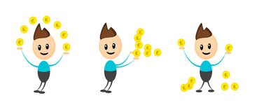 Financial man. Illustration of three picture of financial man Royalty Free Stock Photos