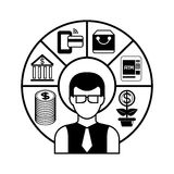 Financial management. Business man with financial diagram Royalty Free Stock Images
