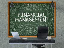 Financial Management on Chalkboard in the Office. 3D. Green Chalkboard with the Text Financial Management Hangs on the Gray Concrete Wall in the Interior of a Royalty Free Stock Images