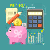 Financial Management Concept. Accounting with digitial caculator. Financial management concept with item icons graph, pig, calculator, document page in flat Stock Photography