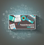 Financial Management concept with Doodle design style. Online purchases, banking, money spending. Modern style illustration for web banners, brochure and Stock Photo