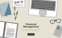 Financial management concept. In thin line style Royalty Free Stock Images