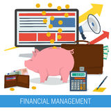 Financial management concept. Vector concept of financial management, accounting services, money saving. Money pig with coins and banknotes, calculator, purse Stock Photo