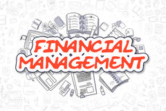 Financial Management - Doodle Red Text. Business Concept. Royalty Free Stock Photo