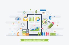 Financial management flat illustration. Financial management and analytic. Modern flat illustration for web Royalty Free Stock Photo