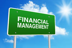 Financial Management. Green road sign with text Financial Management is in front of the blue sunny background Royalty Free Stock Photos