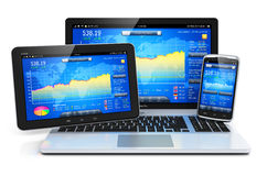 Financial management on mobile devices Stock Image