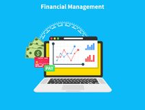 Financial management. Planning and controlling financial resources. Research, project management, planning, accounting. Analysis, data. Flat cartoon design Royalty Free Stock Images