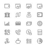 Financial management thin icons. Simple, Clear and sharp. Easy to resize Stock Image