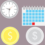 Financial management. Time is money. Money is time, management business and investment currency, banking profit.   Vector flat design illustration Stock Images