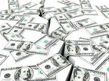 Financial Market Crisis, Dollars and Earthquake Stock Photos