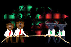Financial market global crisis. Financial market conceptual illustration of competition between wolfs and bears on global black day Royalty Free Stock Image