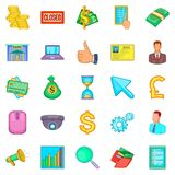 Financial market icons set, cartoon style. Financial market icons set. Cartoon set of 25 financial market vector icons for web isolated on white background Stock Images