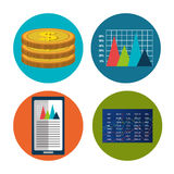 Financial market and investments. Graphic design with icons, vector illustration Royalty Free Stock Photo