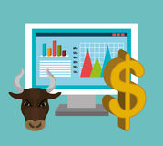 Financial market and investments. Graphic design with icons, vector illustration Stock Photos
