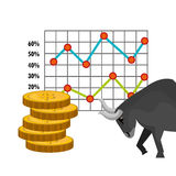 Financial market and investments. Graphic design with icons, vector illustration Royalty Free Stock Image