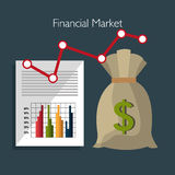 Financial market and investments. Graphic design with icons, vector illustration Royalty Free Stock Photography