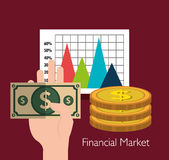 Financial market and investments. Graphic design with icons, vector illustration Stock Photography