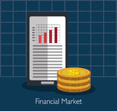 Financial market and investments. Graphic design with icons, vector illustration Royalty Free Stock Images