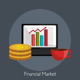Financial market and investments. Graphic design with icons, vector illustration Stock Photo
