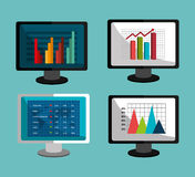 Financial market and investments. Graphic design with icons, vector illustration Stock Image