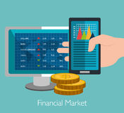 Financial market and investments. Graphic design with icons, vector illustration Royalty Free Stock Photos